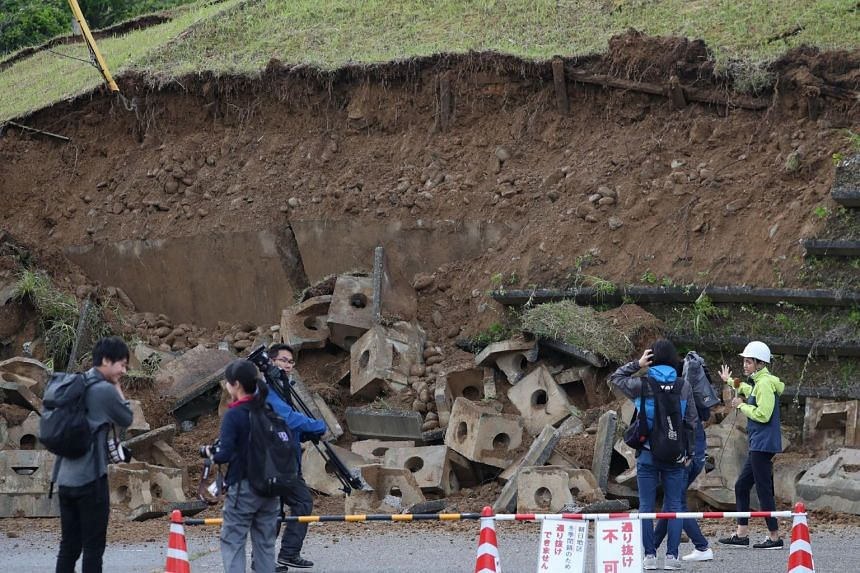 A collapsed slope in the city of Murakami, in Niigata Prefecture on June 19, 2019.