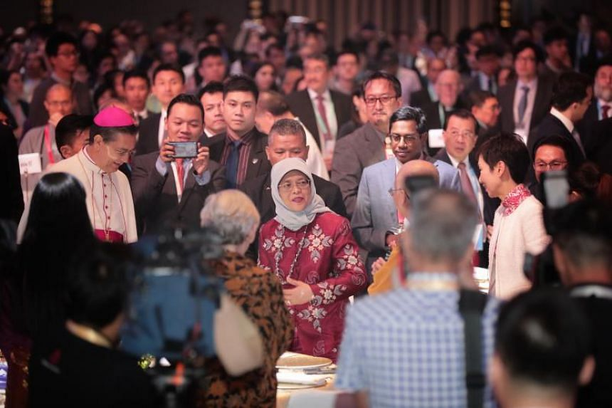 President Halimah Yacob at the International Conference on Cohesive Societies on June 19, 2019.