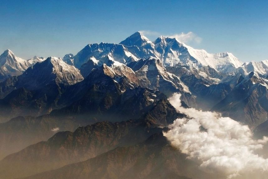 Mount Everest (centre) and other peaks of the Himalayan range are seen from the air during a mountain flight from Kathmandu.