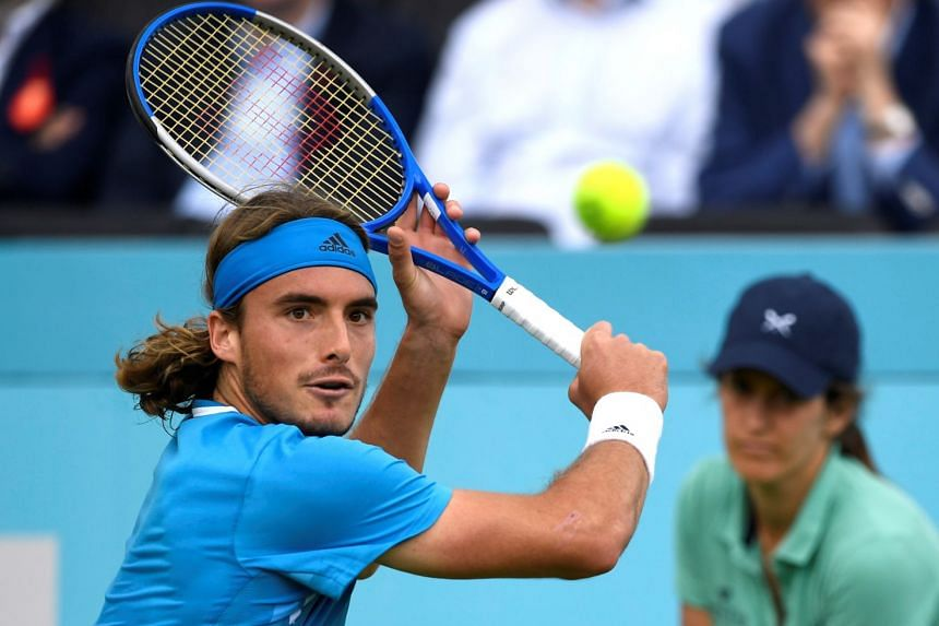 Greece's Stefanos Tsitsipas in action during his first-round match against Britian's Kyle Edmund.