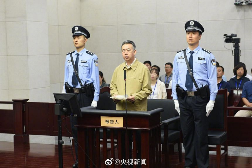 Former Interpol chief Meng Hongwei was accused of taking 14.5 million yuan (S$2.87 million) in bribes.