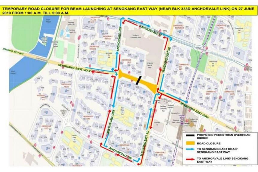 The closure will be between the junction of Sengkang East Way and Sengkang East Road, and the junction of Sengkang East Way and Anchorvale Link.