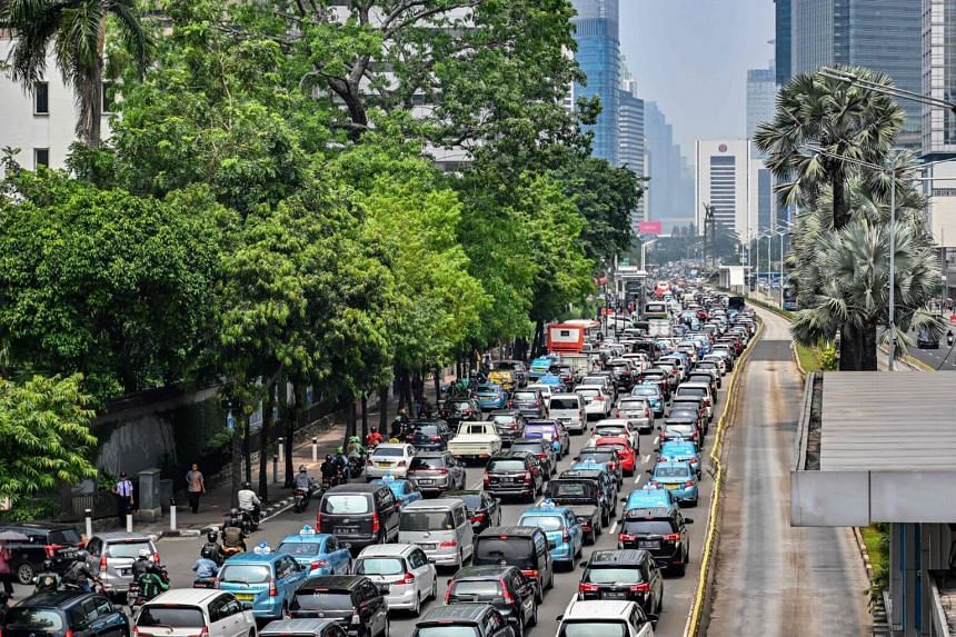 Heavy traffic in Jakarta, Indonesia, on May 10, 2019.