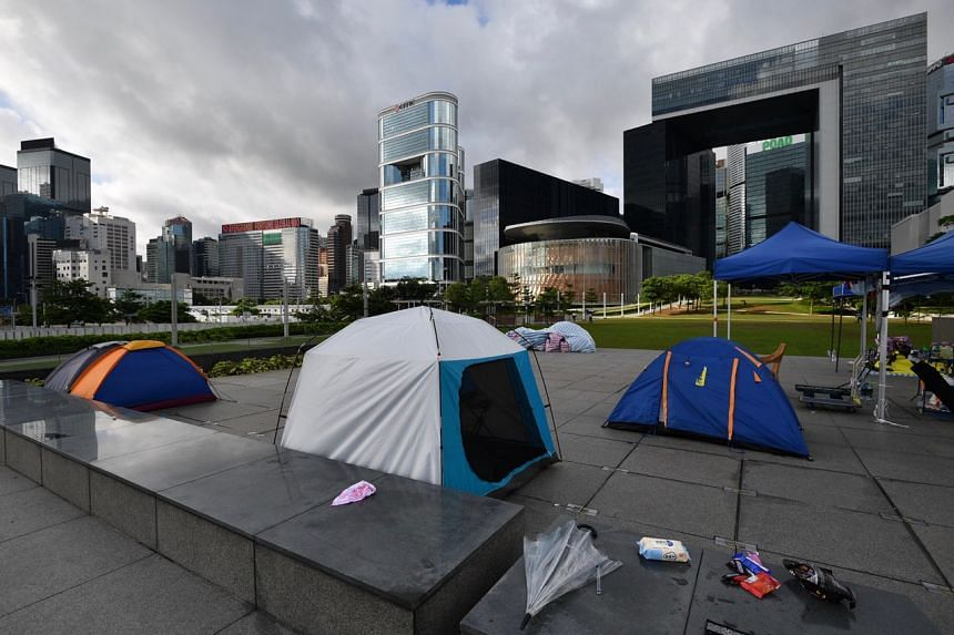 Protesters in tents at Tamar Park near the Legislative Council Complex in Admiralty on June 20, 2019.