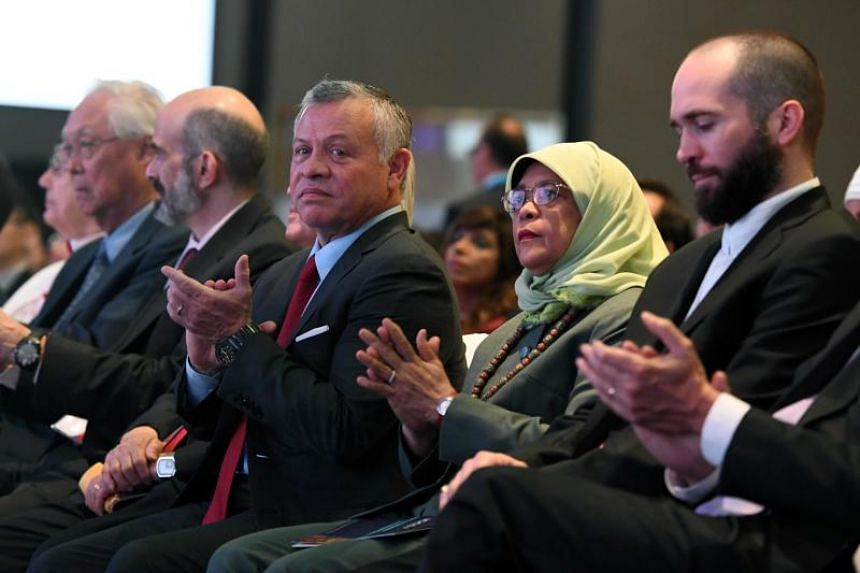 Jordan's King Abdullah (centre) and President Halimah Yacob at the International Conference on Cohesive Societies on June 20, 2019.