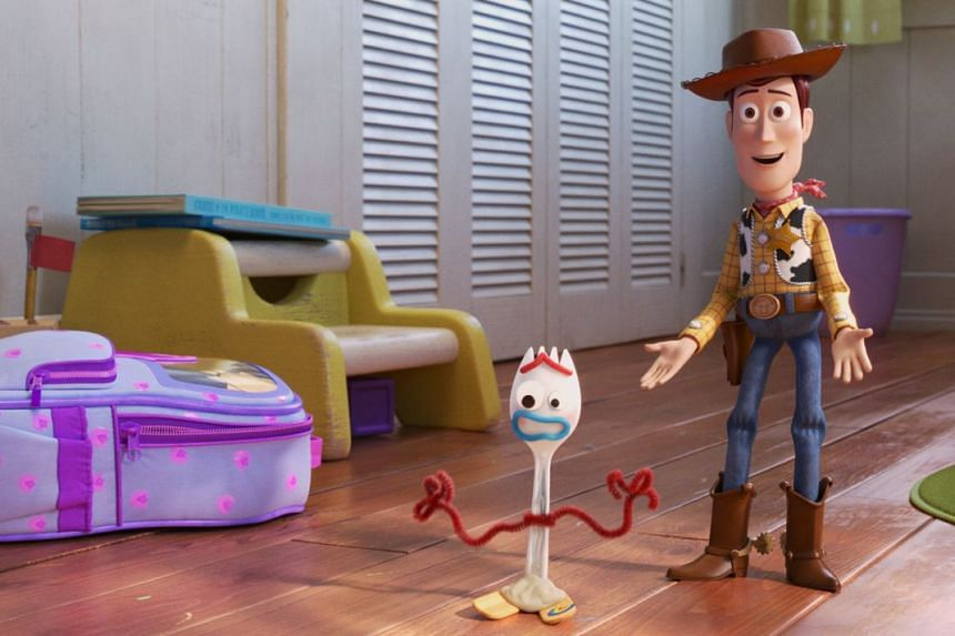 Follow Forky (left, voiced by Tony Hale) and Woody (voiced by Tom Hanks) as they explore the wider world in Toy Story 4.