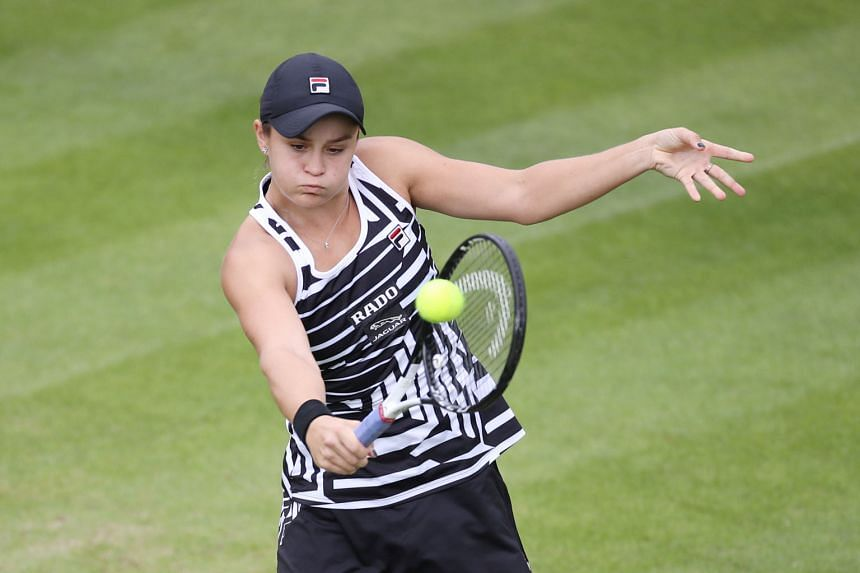 Ashleigh Barty on the way to beating Donna Vekic in the second round of the Birmingham Classic yesterday. The Australian world No. 2 will be among the favourites at Wimbledon next month.