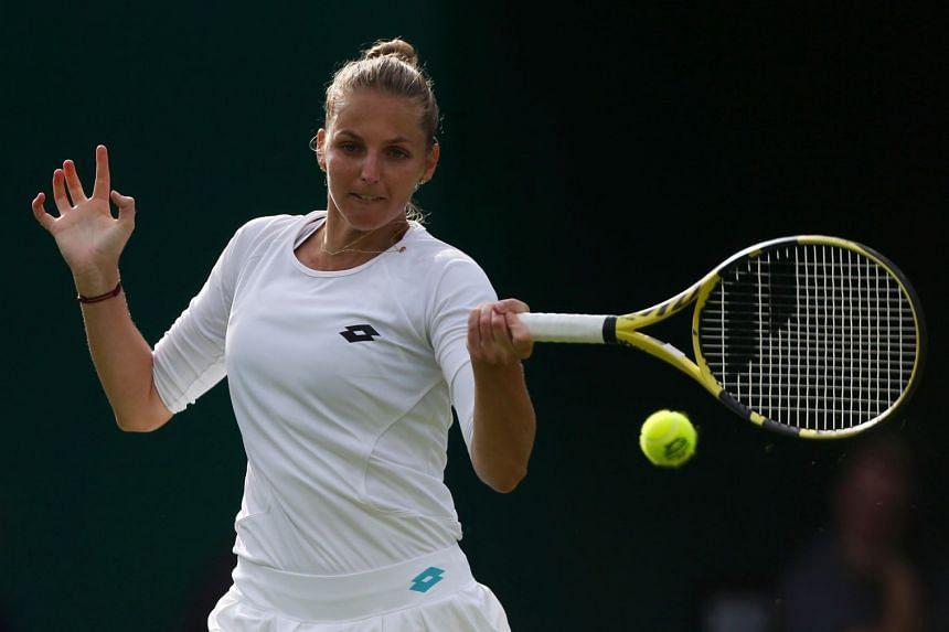 Kristyna Pliskova in action against compatriot and twin sister Karolina Pliskova.