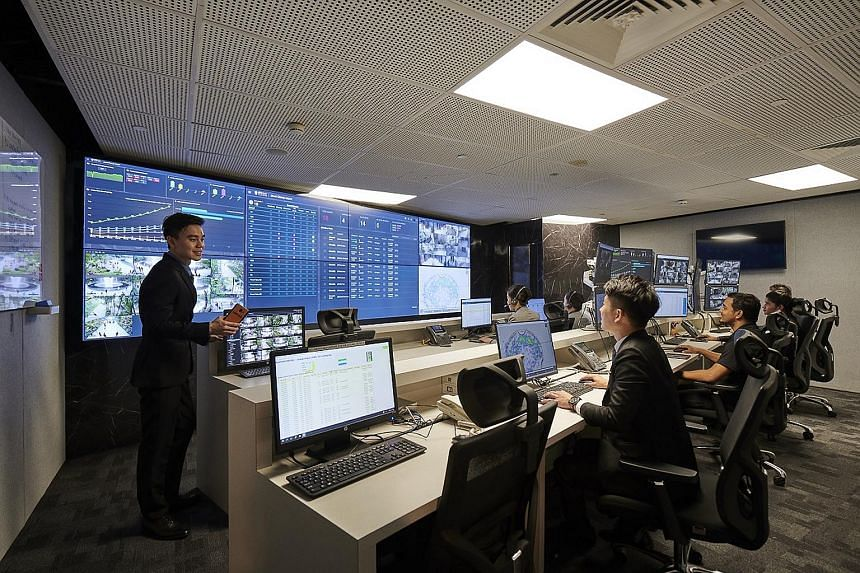 At the smart operations centre in Jewel, security provider Certis oversees the complex's security and customer service needs using the Mozart platform. PHOTO: CERTIS