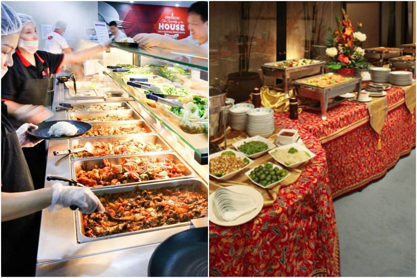 Pro*3 Institutional Catering (left) offers staff cafeteria and dining hall services, while Chilli Api Catering provides halal buffet sets for corporate and private events.