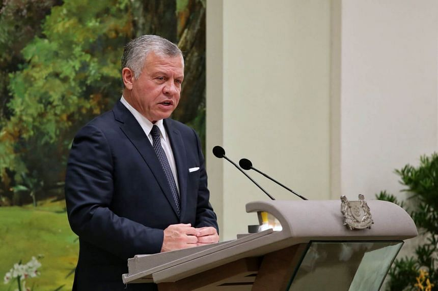 Jordan's King Abdullah II speaking during a state banquet at the Istana, on June 20, 2019.
