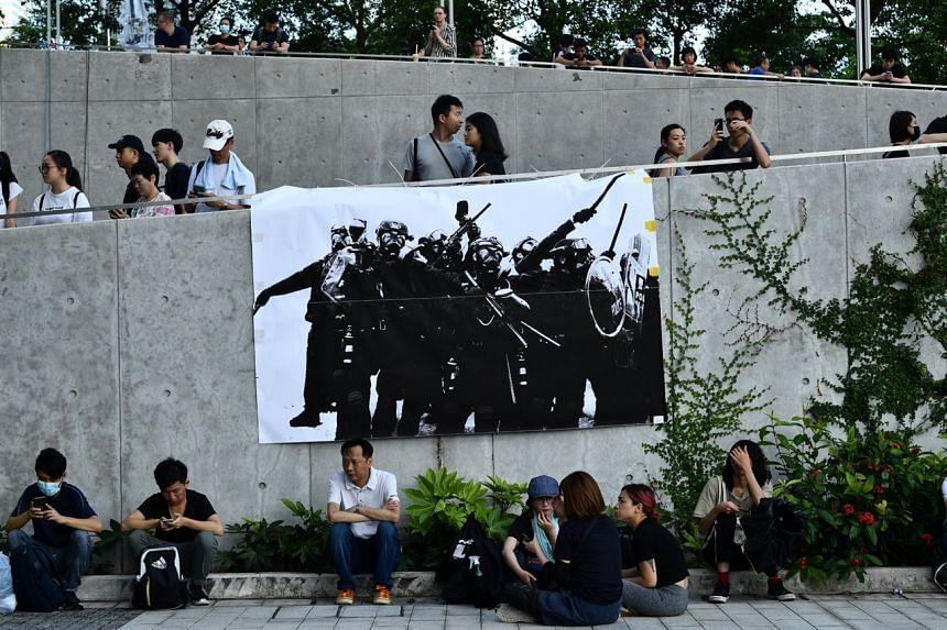 Protesters at the Legislative Council Complex on June 21, 2019.