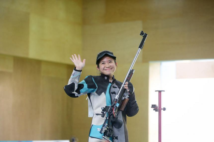 Singapore shooter Martina Veloso at the women's shooting 50m rifle 3 positions finals at Gold Coast Commonwealth Games on April 13, 2018.