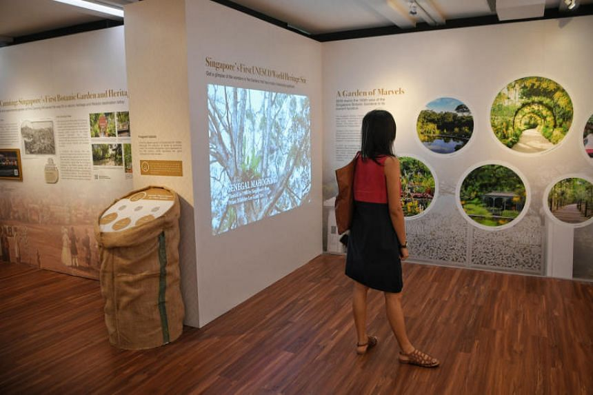 Visitors at the Singapore Botanic Gardens' City Developments Green Gallery, which explores the evolution of Singapore from 200 years ago till present day.