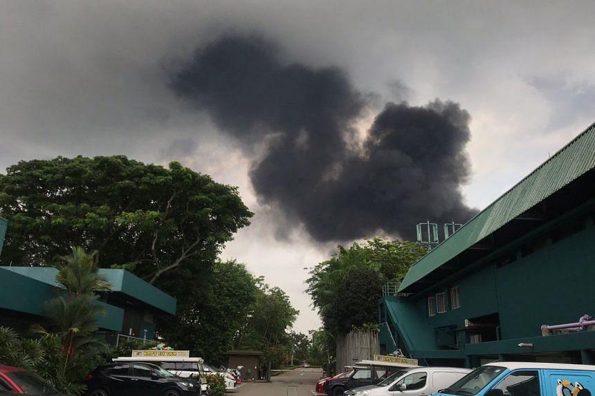 Thick smoke as seen from 27 Jalan Buroh at around 6pm on June 21, 2019.