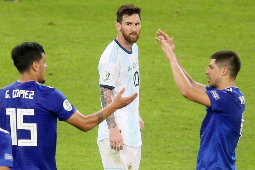 Lionel Messi is frustrated by Argentina's failure to manage a victory in two Copa America matches, having to save his team with a VAR-reviewed penalty against Paraguay in Belo Horizonte, Brazil, on Wednesday. PHOTO: AGENCE FRANCE-PRESSE