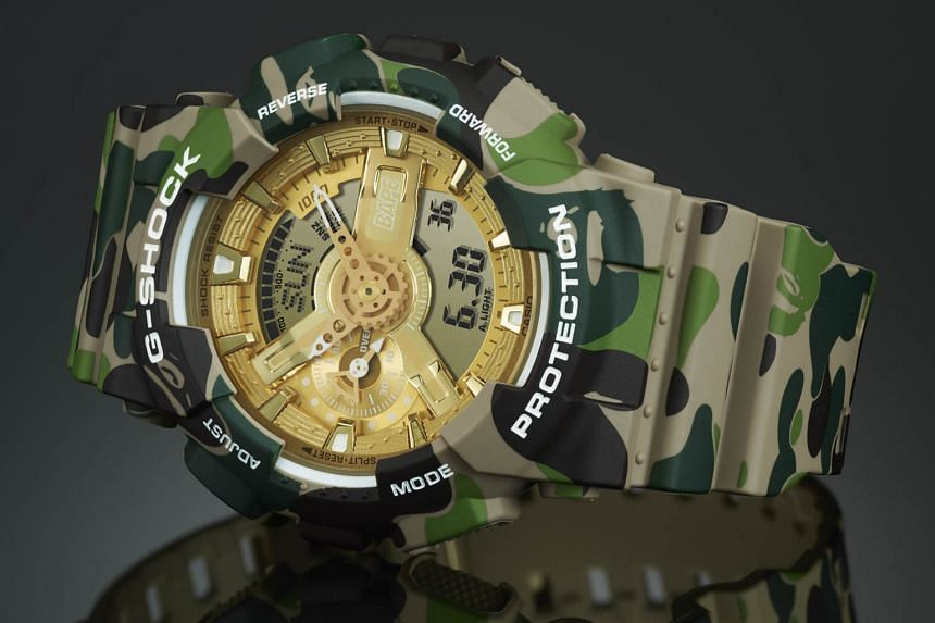 Casio's collaboration watches include the Master Optimus Prime Resonant Model that transforms from a robot to a watch pedestal, done in partnership with the Transformers franchise; a limited-edition G-Shock with Japanese streetwear purveyor Bape's si
