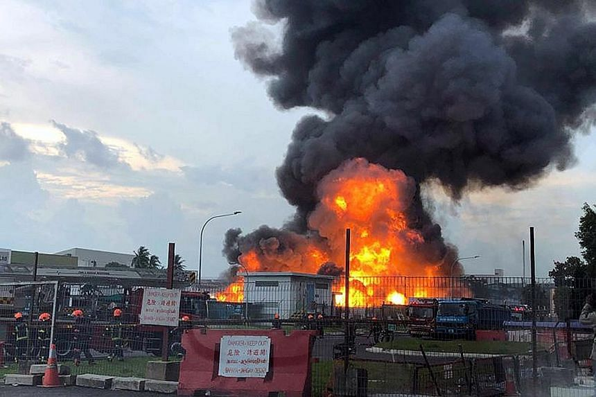 Man killed, two others hurt in massive LPG fire in Jurong