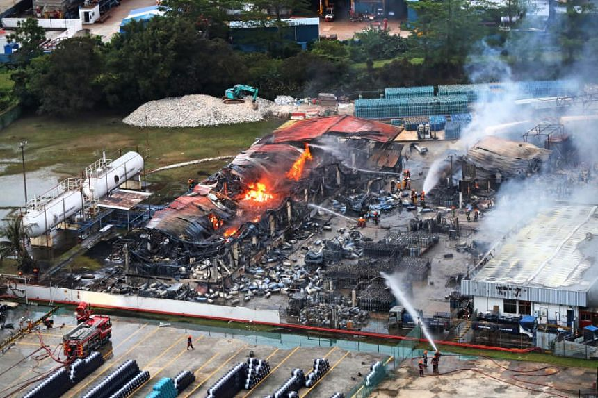 A massive fire broke out at a liquefied petroleum gas facility at 43 Jalan Buroh on June 21, 2019.