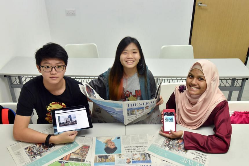 Write Edge students (from left) Daryl Wong, Sarah Teo and Fatimah Ramadhan. Write Edge uses NewsEd, a news portal where students can access The Straits Times articles.