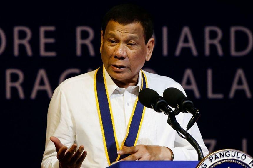 Philippine President Rodrigo Duterte giving a speech at a military base in Cavite, south of Manila, on June 17, 2019.