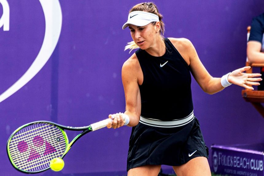 Bencic in action against Amanda Anisimova of the US.
