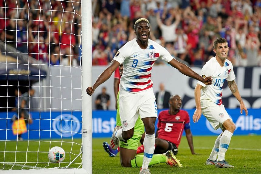 Gyasi Zardes (#9) of the US celebrating after scoring a goal against Trinidad and Tobago during the second half of their CONCACAF Gold Cup Group D match on June 22, 2019 in Cleveland, Ohio.