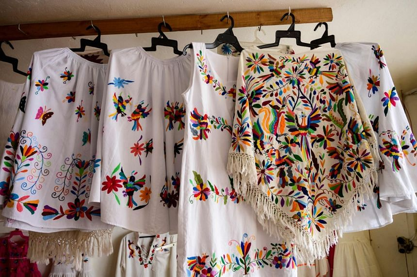 Pieces by Mexican artisan Glafira Candelaria Jose, of the Otomi ethnic group, are seen at her workshop in Tenango de Doria,