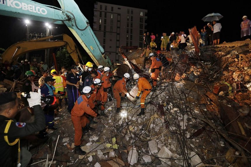 The seven-storey building was nearing completion when it collapsed, reportedly trapping dozens in the deadliest such accident in recent years in Cambodia.