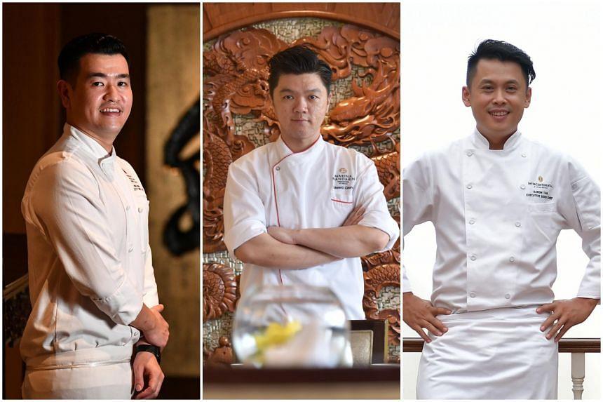 (From left) Brian Wong, executive Chinese chef of Wan Hao Chinese Restaurant; Edward Chong, Executive Chinese Chef at the Peach Blossoms restaurant in Marina Mandarin Hotel and Chef Aaron Tan of Man Fu Yuan Restaurant at Intercontinental Hotel.
