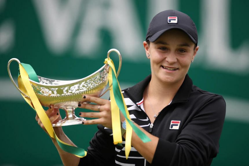 Ashleigh Barty celebrating with the trophy after winning the Birmingham Classic on June 23, 2019.