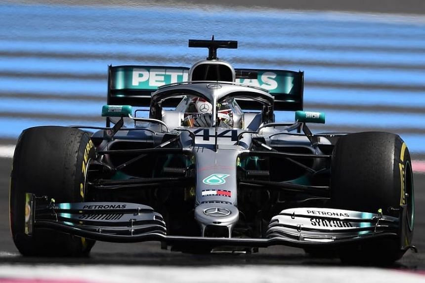 Mercedes' British driver Lewis Hamilton competes during the Formula One Grand Prix de France at the Circuit Paul Ricard in Le Castellet, on June 23, 2019.