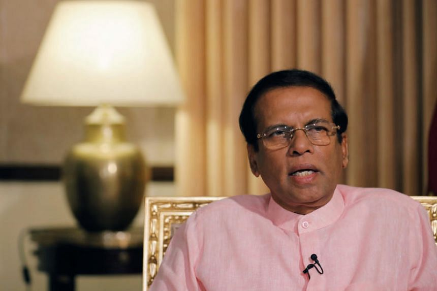 Sri Lanka President Maithripala Sirisena speaking during an interview with Reuters in Colombo, on May 4, 2019.