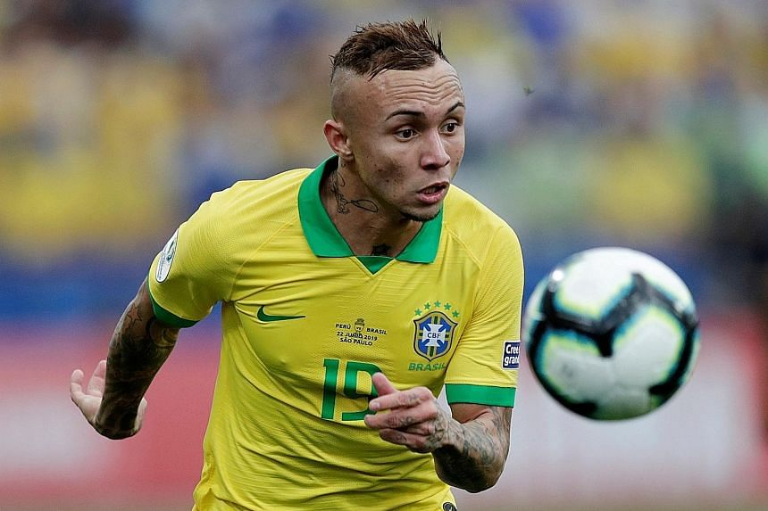 Gremio player Everton made his first Brazil start, on the left wing, and delighted the crowd with his skills while scoring once. He is looking forward to playing their quarter-final on his club's home ground on Thursday.