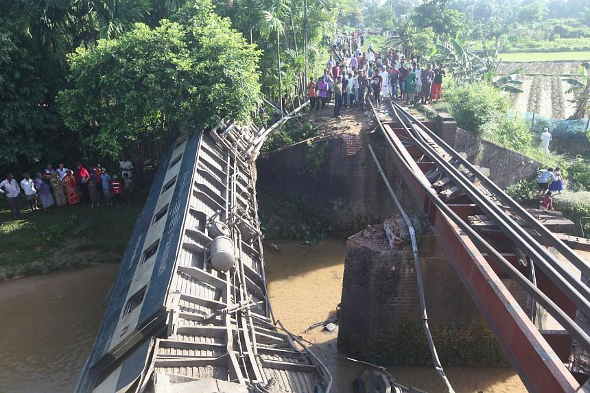 Part of a bridge collapsed and sent a train plunging, killing four and injuring 100 in Kalaura, Bangladesh, on June 24, 2019.