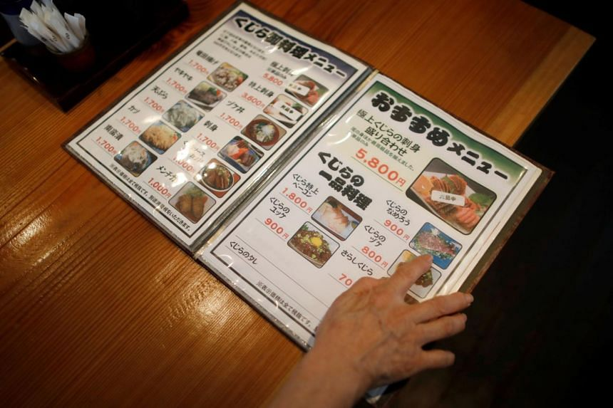 A menu featuring whale meat dishes at the restaurant P-man in Minamiboso, Tokyo.