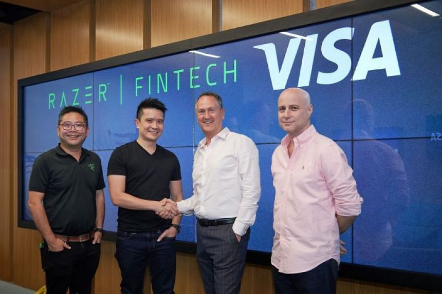 (From left) Razer chief strategy officer Lee Limeng, Razer co-founder and CEO Tan Min-Liang, Visa's Asia Pacific regional president Chris Clark and Visa's head of Asia Pacific solutions Cietan Kitney.