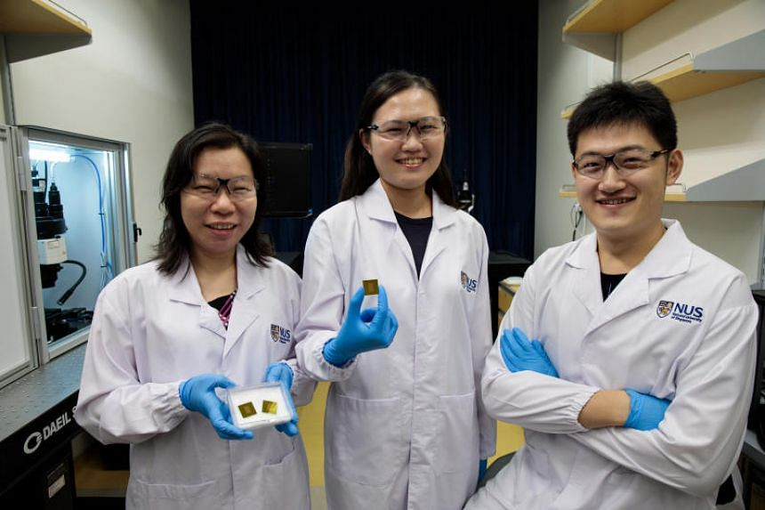 (From left) Led by Assistant Professor Shao Huilin, a research team with NUS doctoral students Carine Lim and Zhang Yan invented APEX, a highly sensitive blood test for early detection of Alzheimer's disease, even before clinical symptoms appear.