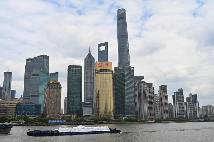 The skyline of the financial district in Shanghai on May 8, 2019.
