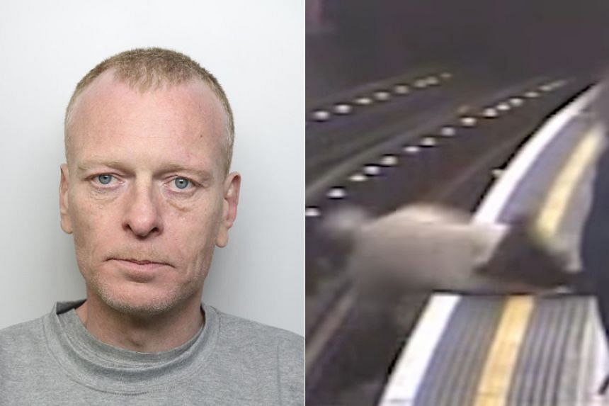 Security camera footage showed Paul Crossley shoving the elderly man, who suffered multiple pelvis fractures and a severe cut as he plunged head-first onto the tracks on April 27, 2018.