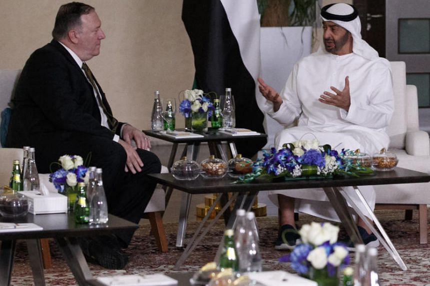 US Secretary of State Mike Pompeo meets Abu Dhabi's Crown Prince Mohammed bin Zayed in Abu Dhabi on June 24, 2019.