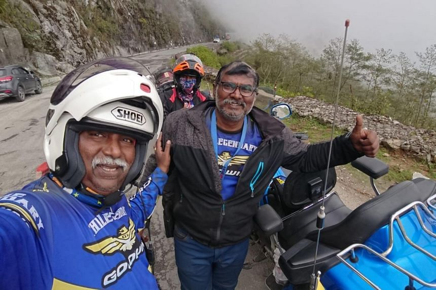 (From left) S. Balachandran, A. Arunagiri (behind) and P. Pannirselvam rode their Honda Gold Wing bikes for around 13,500km from Singapore to India.