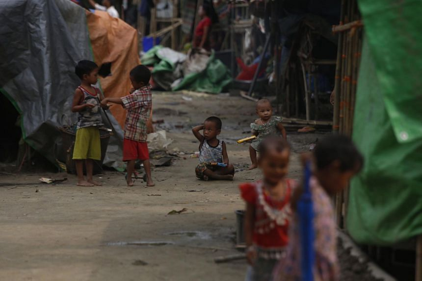 Rakhine's ethnic people who fled from conflict areas at War Taung village's temporary camp in Kyauk Taw Township, western Myanmar, on June 18, 2019.