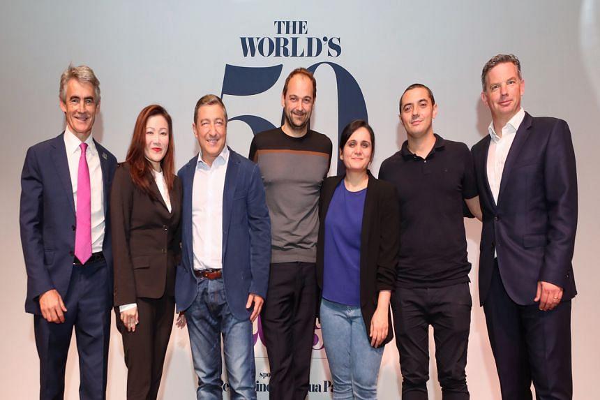 At the press conference yesterday were (from left) Mr Charles Reed; Ms Melissa Ow; chefs Joan Roca, Daniel Humm, Garima Arora and Julien Royer; and Mr William Drew.