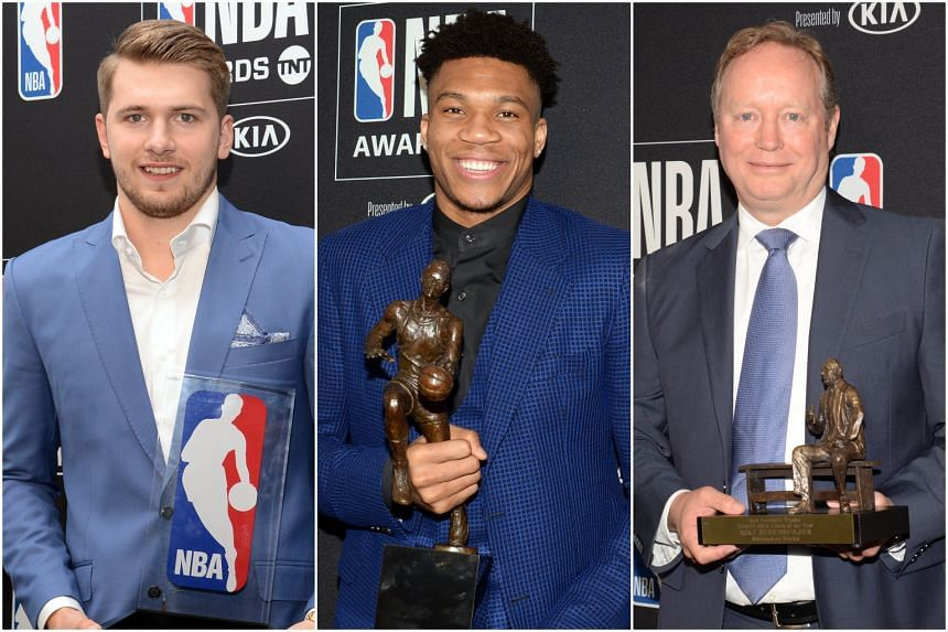 (From left) Dallas Mavericks' Luka Doncic won Rookie of the Year, while Milwaukee Bucks' Giannis Antetokoumpo and Mike Budenholzer clinched the Most Valuable Player and Coach of the Year awards.
