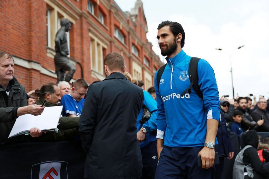 Everton's Andre Gomes arrives before a match.