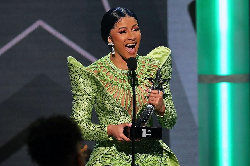 Rapper Cardi B received two trophies at this year's BET awards - Best Female Hip-hop Artist and Album Of The Year.