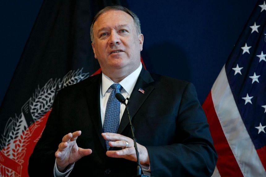 US Secretary of State Mike Pompeo speaks during a news conference in Kabul, Afghanistan, on June 25, 2019.