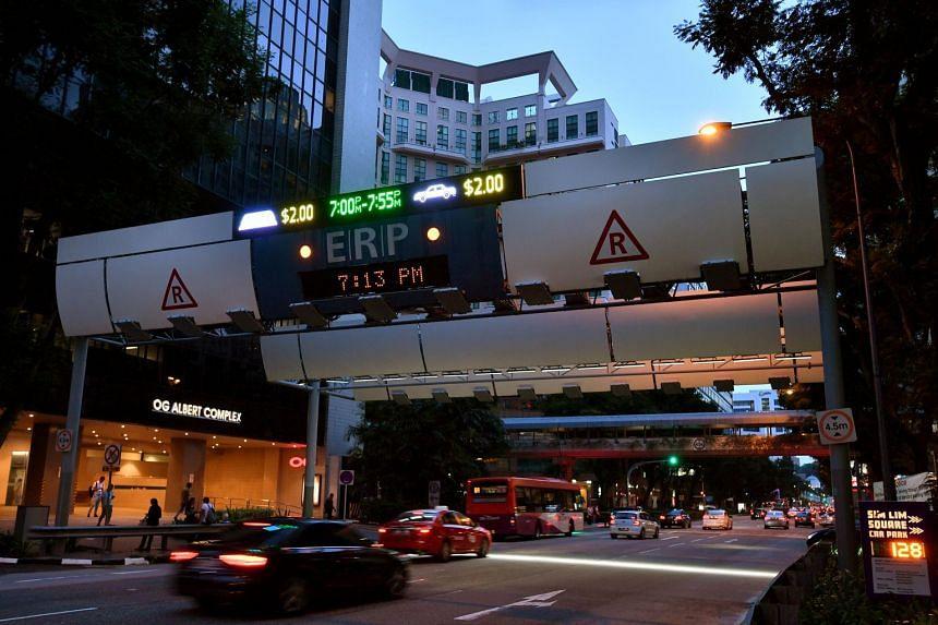 An ERP gantry outside Sim Lim Square, on June 22, 2018.
