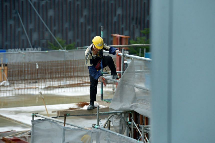 A worker at a construction site in Paya Lebar.